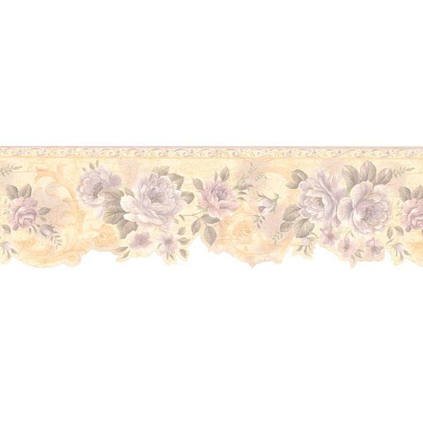 451 1615 Lavender Flower Scroll   Brewster Wallpaper Borders 600x600
