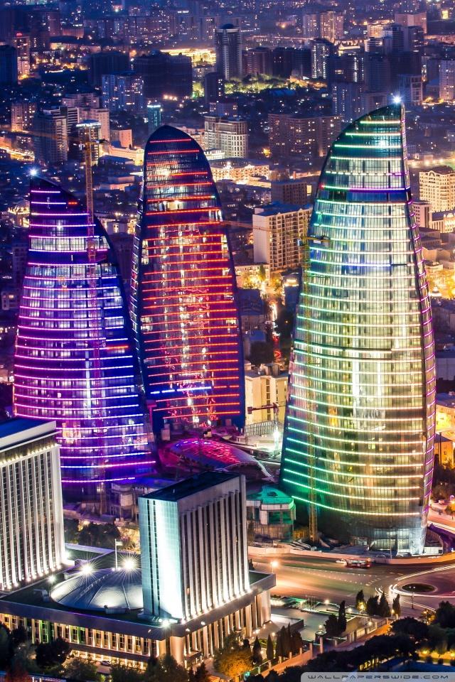 Flame Towers Baku Azerbaijan 4K HD Desktop Wallpaper for 640x960