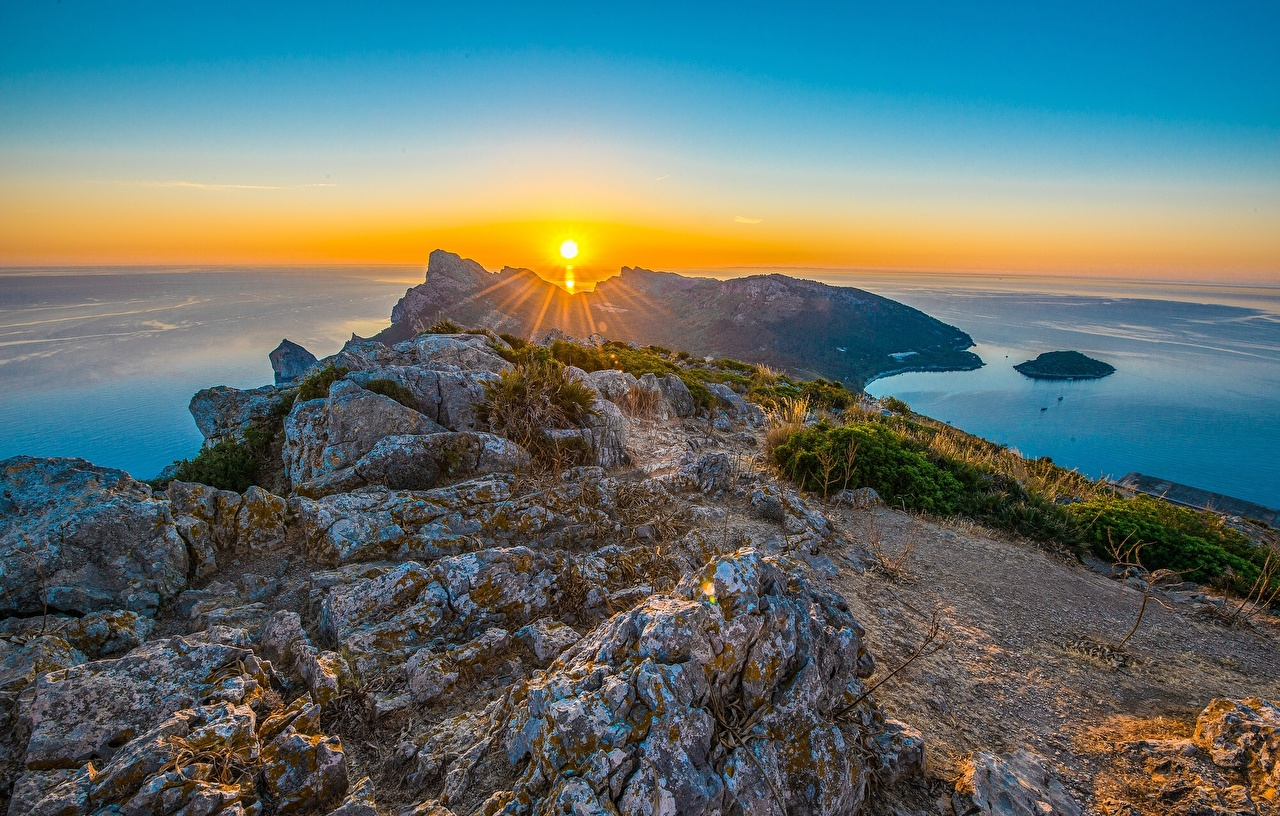 Picture Rays of light Majorca Mallorca Spain Cap de Formentor 1280x816
