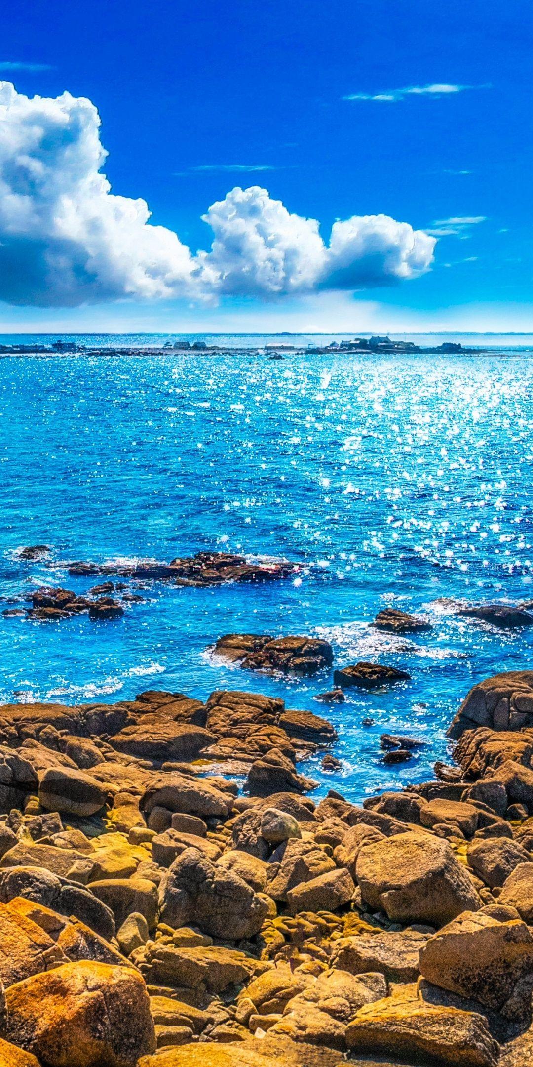 Rocks coast sunny day blue sea 1080x2160 wallpaper Beautiful 1080x2160