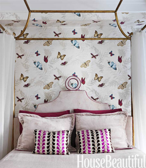 Whimsical butterfly themed wallpaper feels sophisticated and feminine 500x575