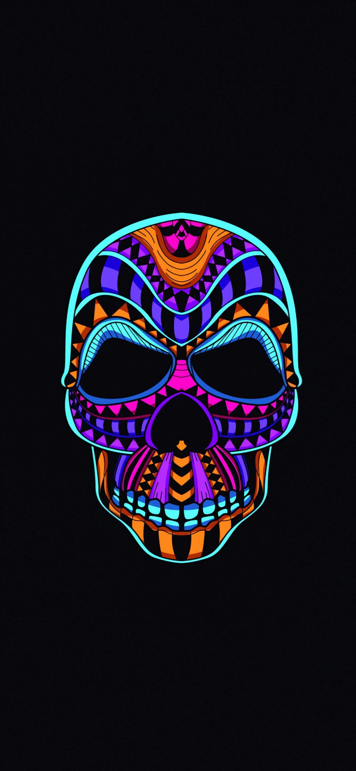 skull dark minimal 4k iPhone 12 Wallpapers Download 1170x2532