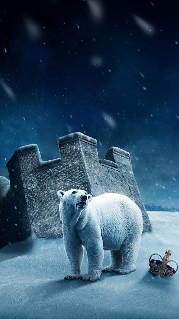 Polar Bear On The Snow Wallpaper   iPhone Wallpapers 576x1024