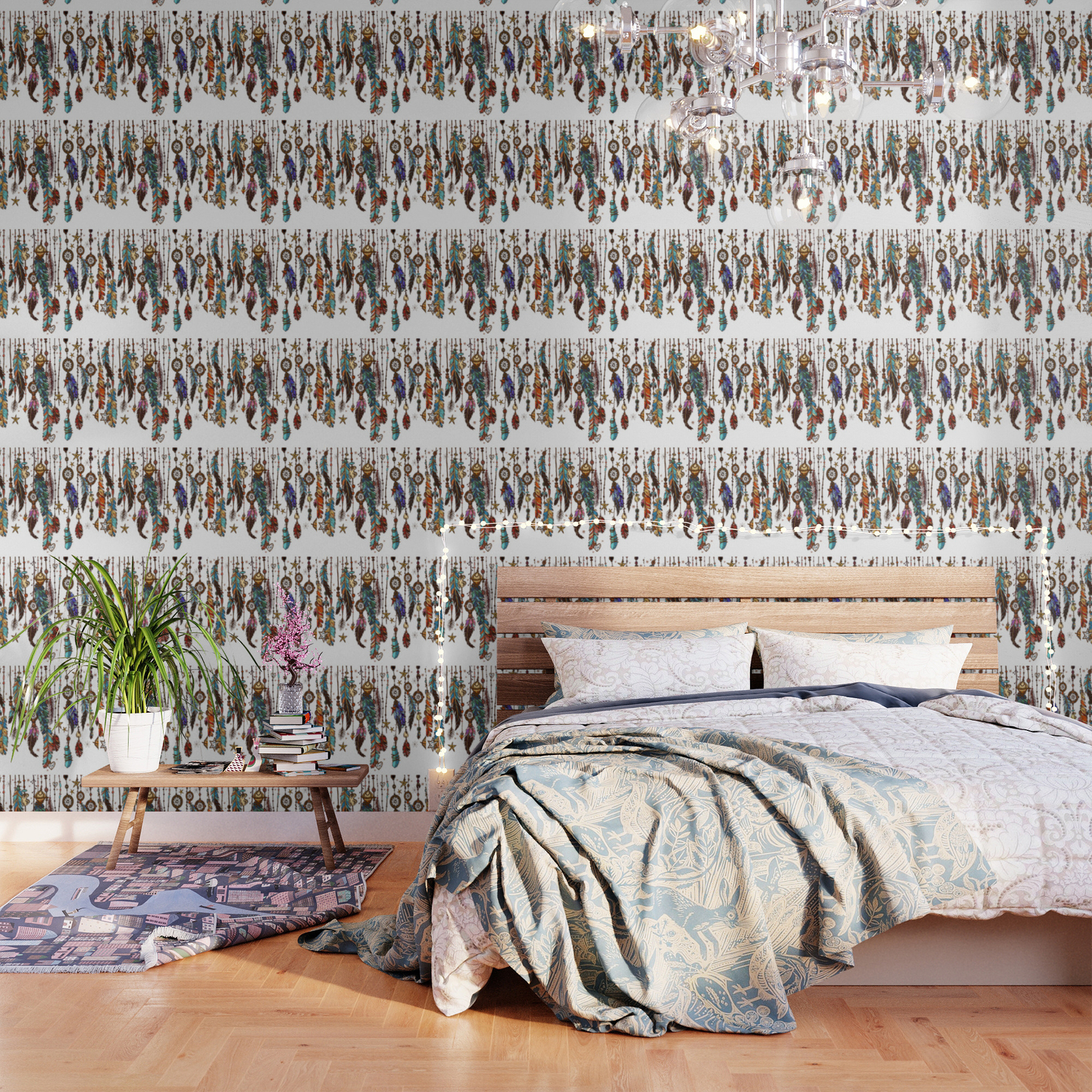 Feathers and crystals in aztec style Wallpaper by christineiris 1500x1500