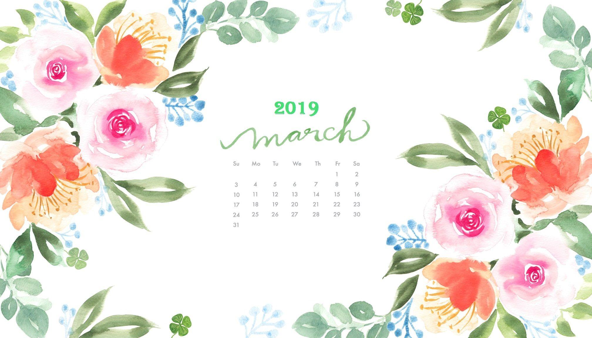 March 2019 Watercolor Calendar Wallpaper Monthly Calendar 2016x1152