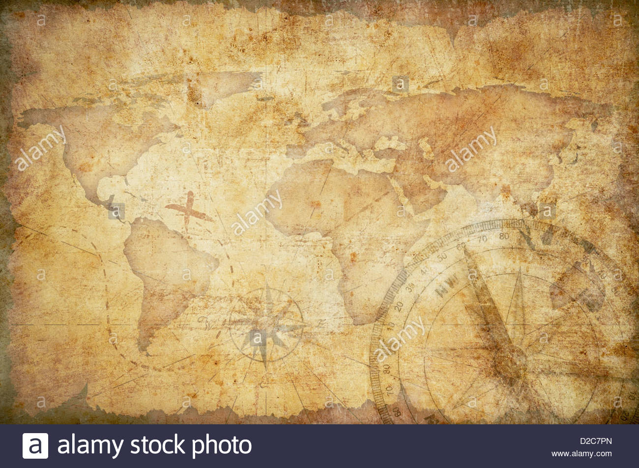aged treasure map with compass background Stock Photo 53129965 1300x953