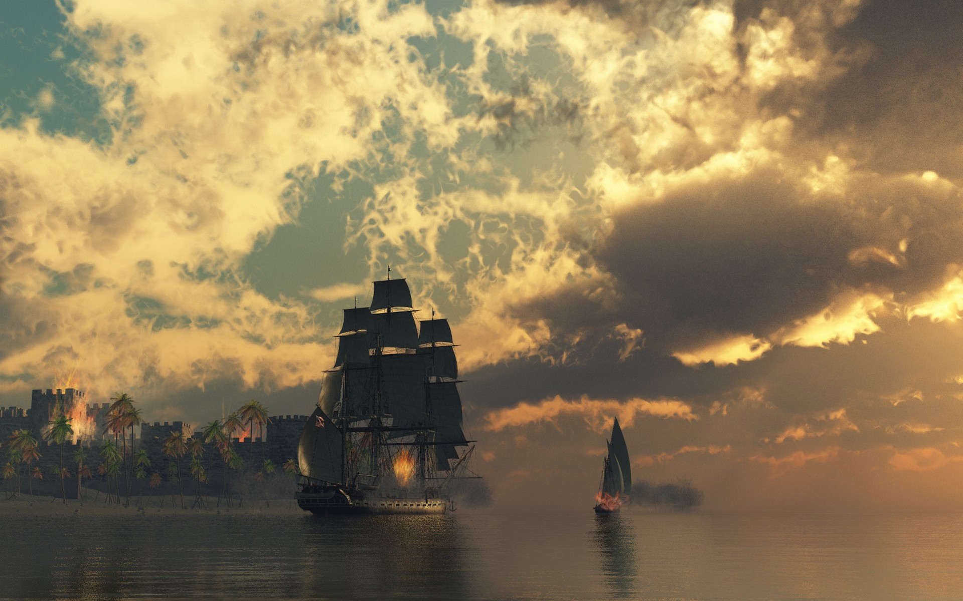 Fire ships pirates sail ship sails wallpaper background 1920x1200