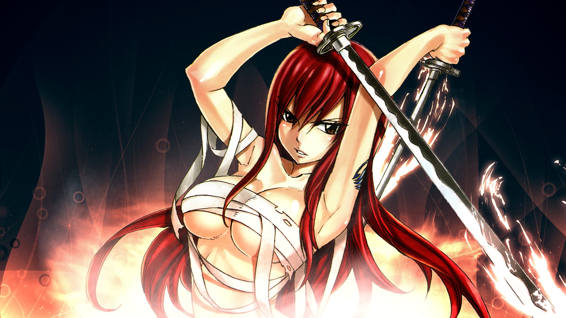 Erza Scarlet Katana Fairy Tail 7b Wallpaper HD 1920x1080