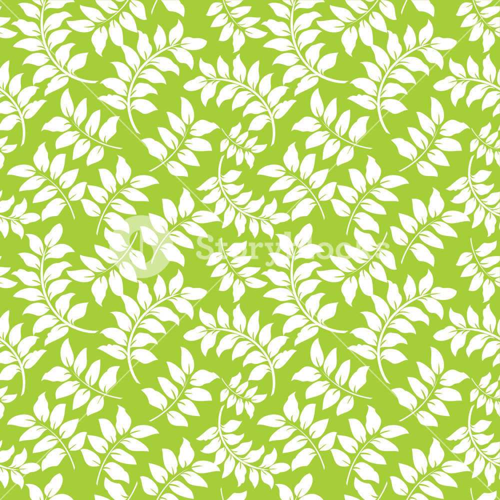 Pattern Of White Vines On A Lime Green Background Royalty 1000x1000