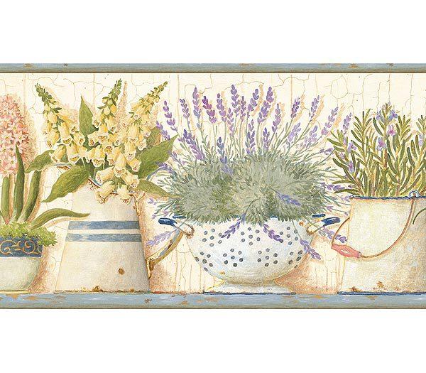 Gardeners Kitchen Blue Wallpaper Border 600x525