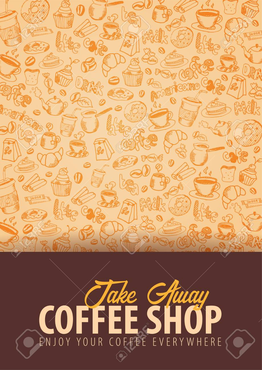 Coffee Banner With The Hand draw Doodle Elements On The Background 919x1300