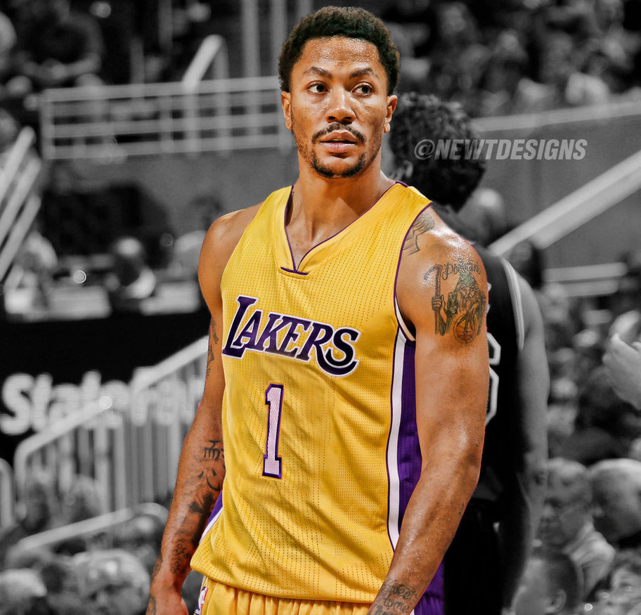 Derrick Rose Jersey Swap   Los Angeles Lakers by NewtDesigns on 912x875