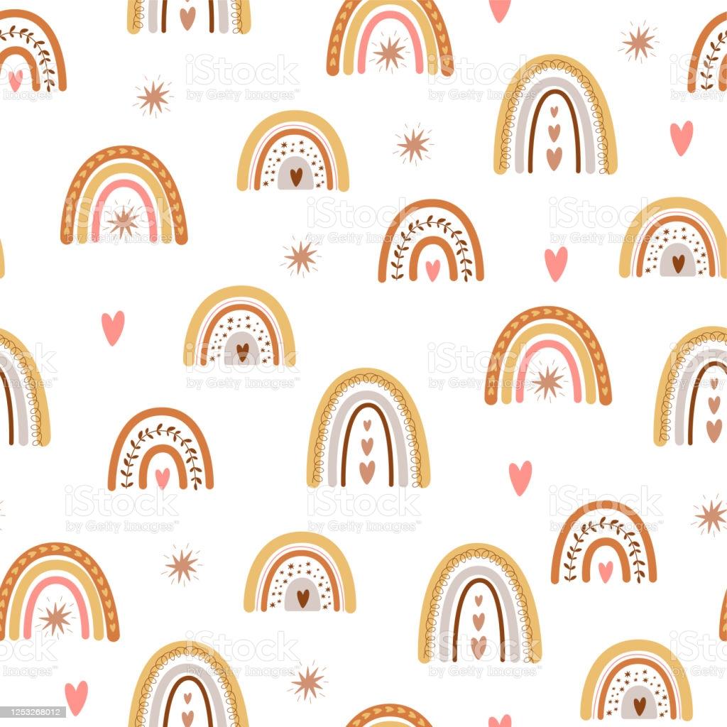 Kids Boho Rainbow Pattern With Modern Pastel Rainbows Baby Boho 1024x1024