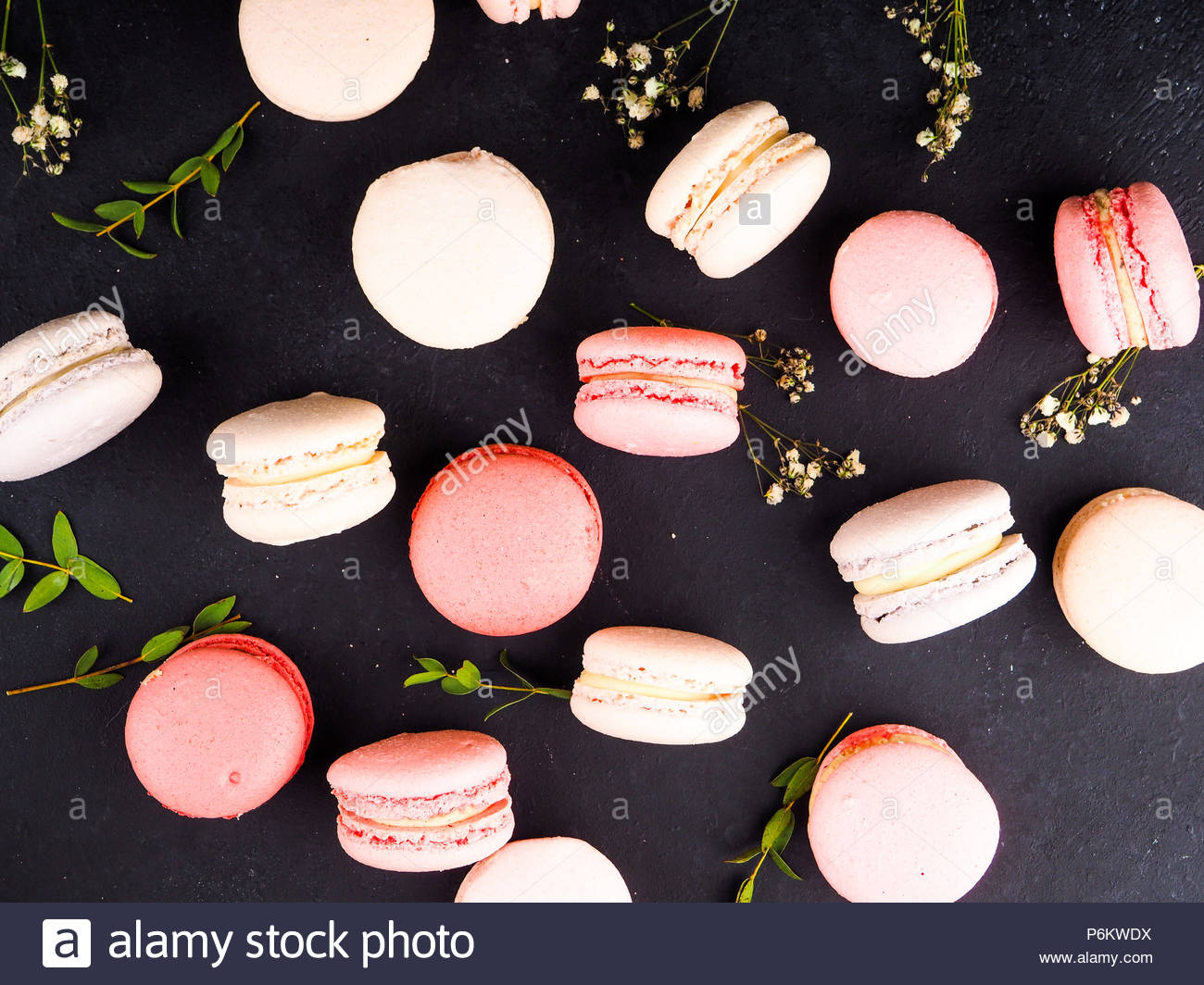 Colorful french macarons background close upDifferent colorful 1300x1064