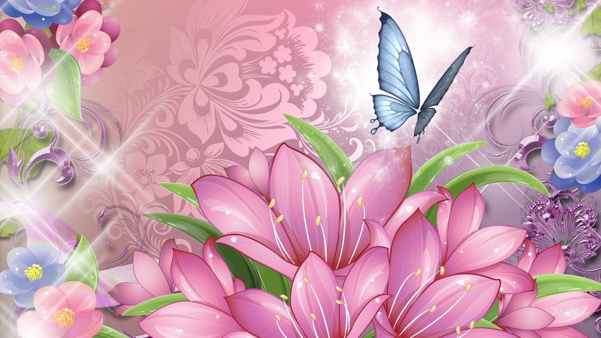 Blue Butterfly and Pink Flowers Wallpaper HD images from pin it 1920x1080