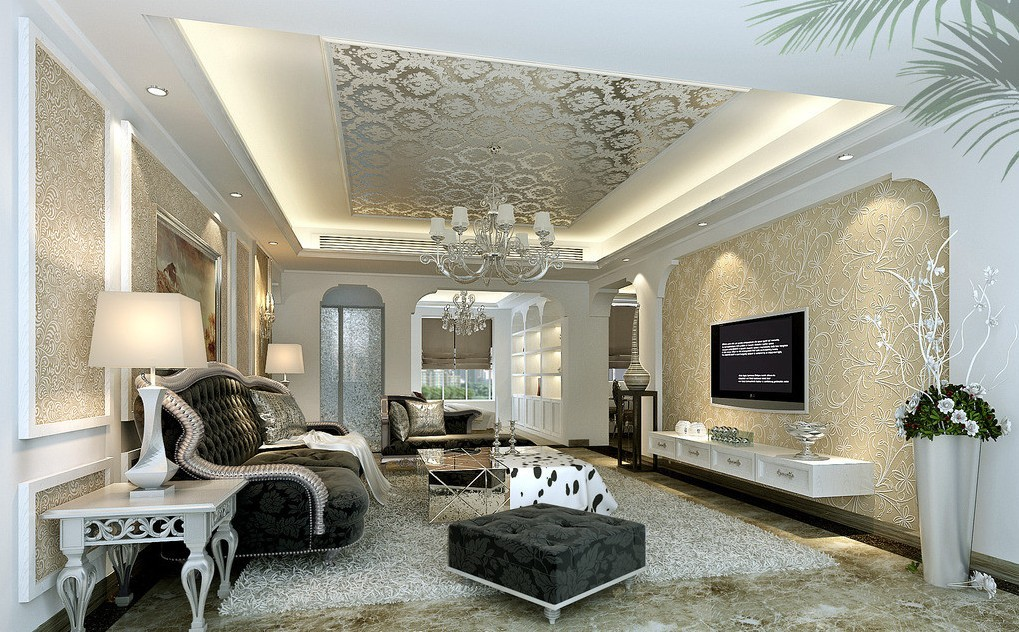 Wallpaper Designs For Living Room 3D House Pictures 1019x632