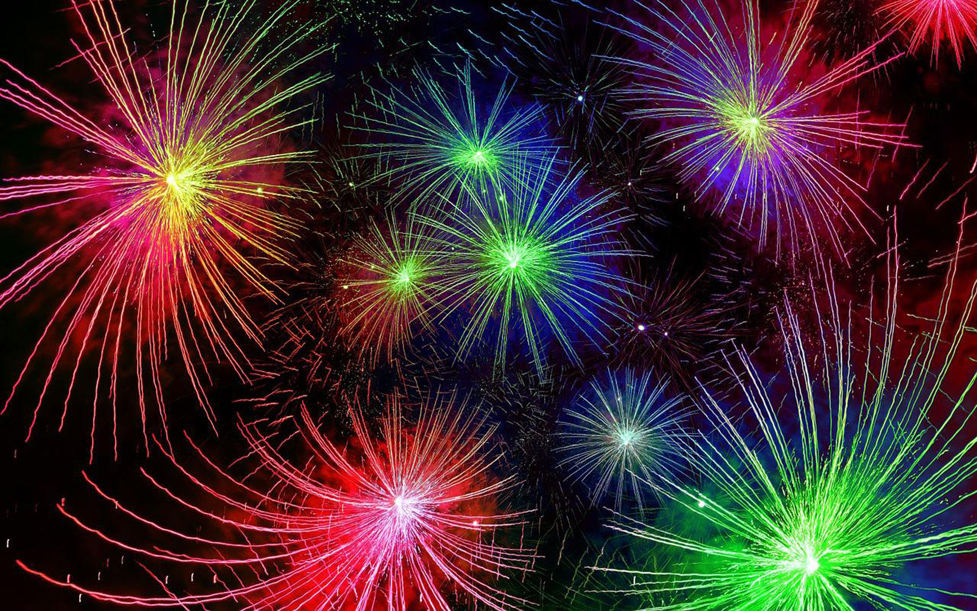 Happy New Year Live New Years Fireworks Red Blue Yellow 1920x1200