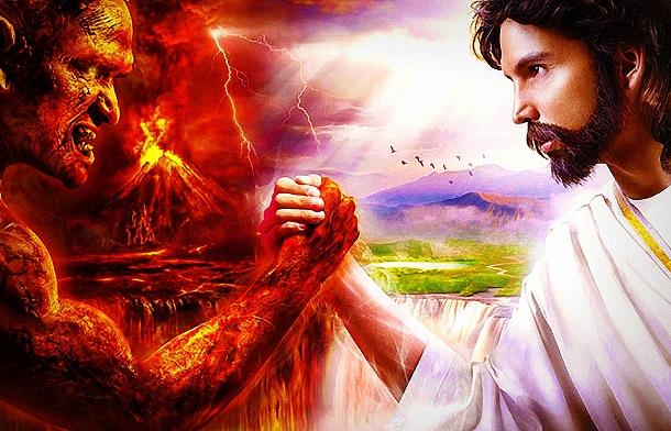 Satan Vs Jesus Wallpaper Jesus and satan in the 610x392