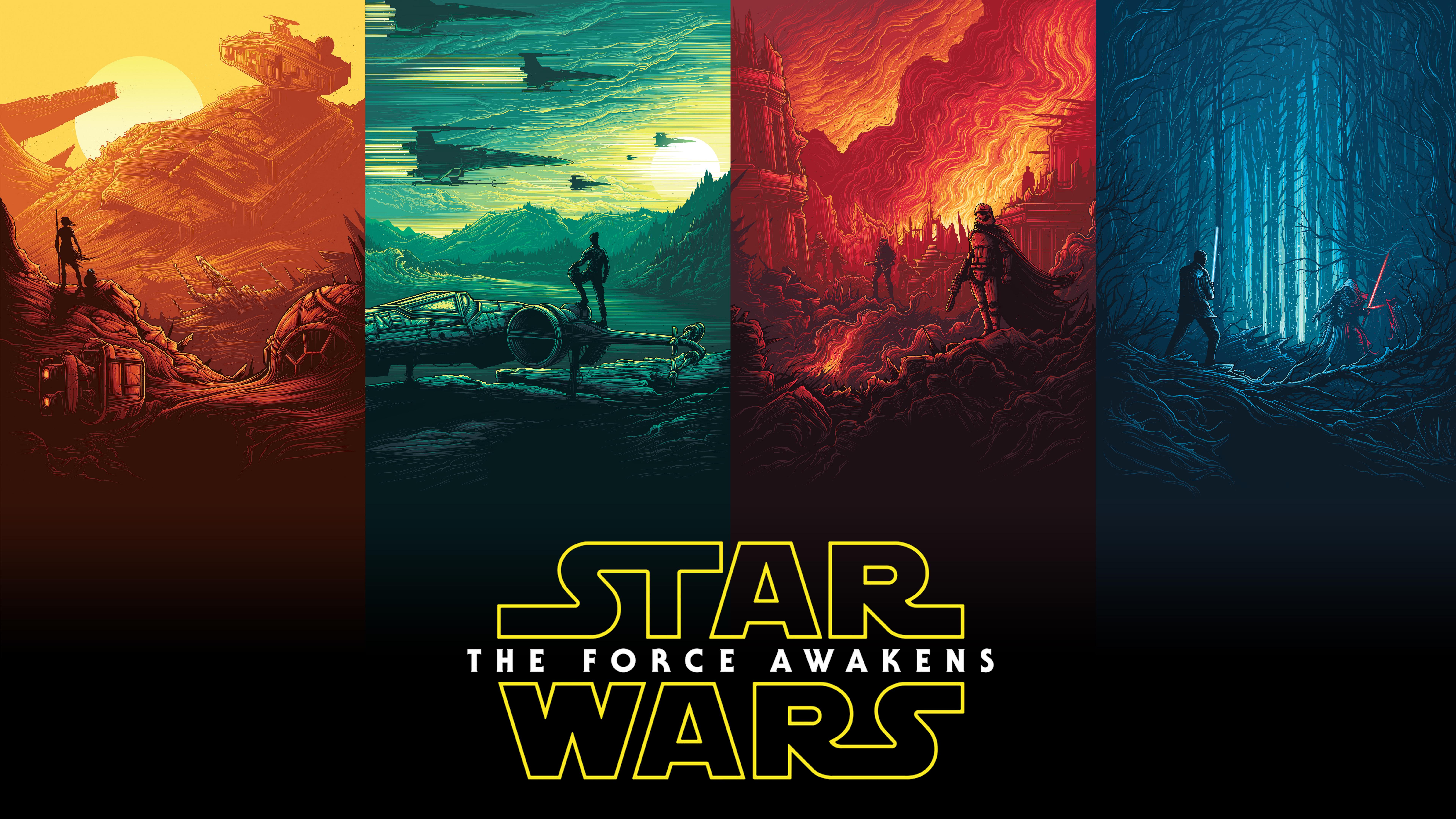 Rey Finn Kylo Ren Han Solo Luke Skywalker Star Wars Wallpaper DESKTOP 7680x4320