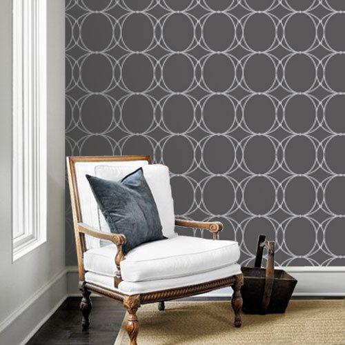 Oval Geometric Black Removable Wallpaper   Peel Stick Repositionab 500x500