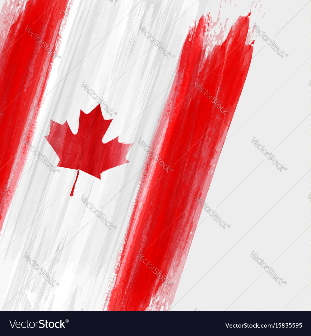 Grunge canadian flag background with watercolor Vector Image 1000x1080