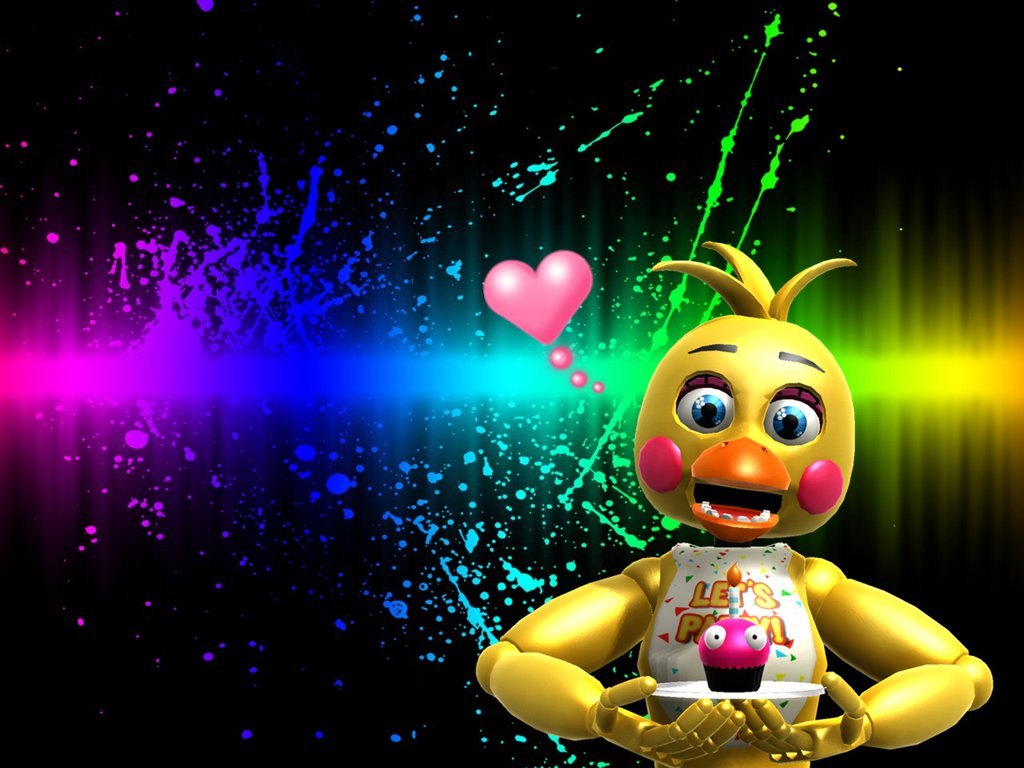 fnaf 2 toy chica wallpaper yay my first wallpaper you need to comment 1024x768