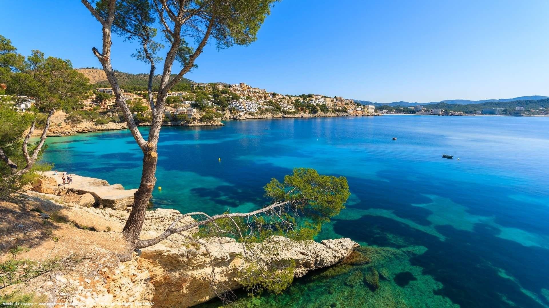 Palma Menorca tree blue sea coast houses Spain wallpaper 1920x1080