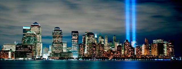 Lower Manhattan With 911 Towers Of Light mural 640x243
