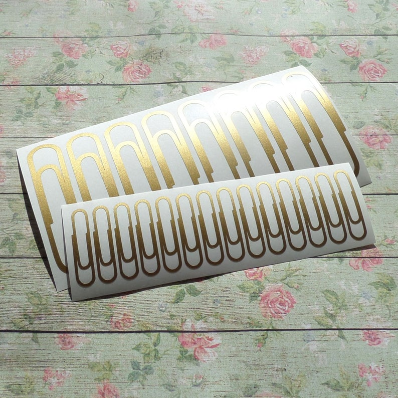 80 Paperclip stickers gold paper clip decals office Etsy 794x794