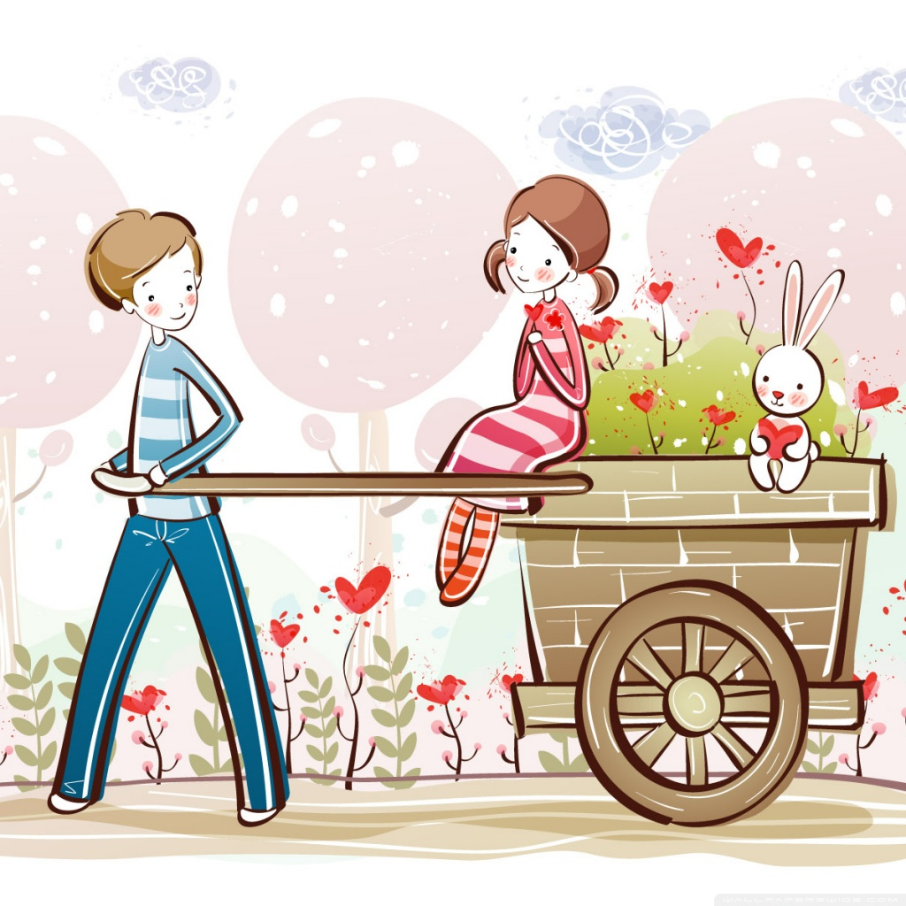 Cute Valentine Couple Valentines Day Illustration 4K HD 1024x1024
