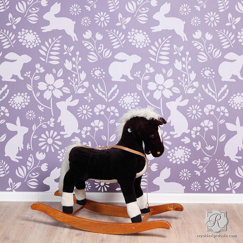 Colorful Bunny Flower Wallpaper Wall Stencils for DIY Nursery Decor 800x800
