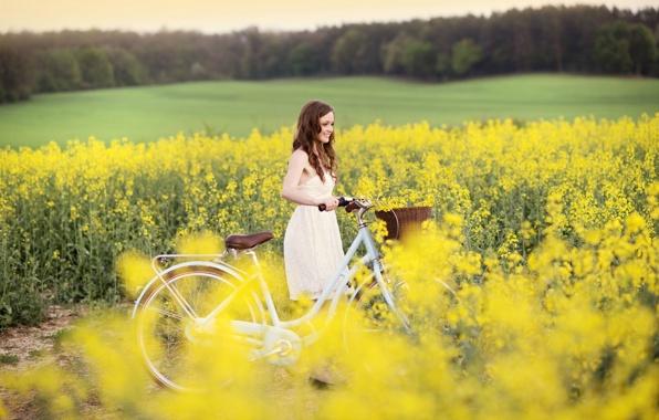 Wallpaper mood girl smile joy dress biking sports flowers 596x380