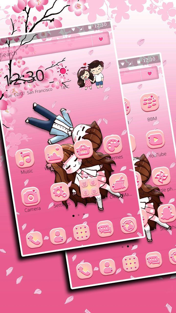 Cute Love 2D Theme for Android   APK Download 720x1280