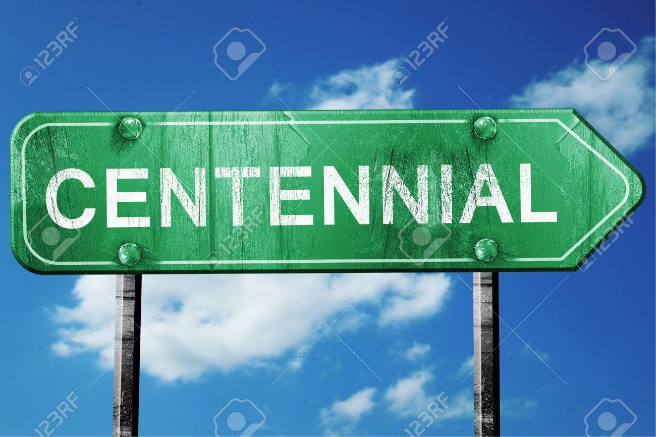 Centennial Road Sign On A Blue Sky Background Stock Photo Picture 1300x866