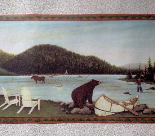 Lodge Wallpaper Border   Fishing Moose Bear Camping 500x252