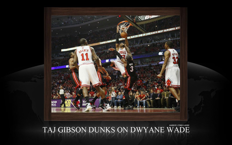 Taj Gibson Dunk Over Dwyane Wade Widescreen Wallpaper Big Fan of NBA 1440x900