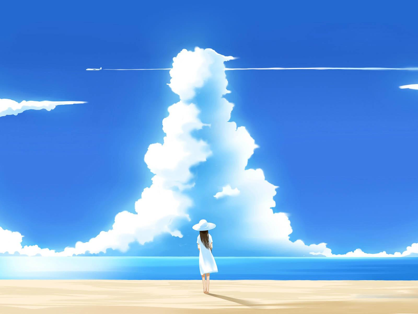 anime beautiful summer day illustration backgrounds wallpapersjpg 1600x1200