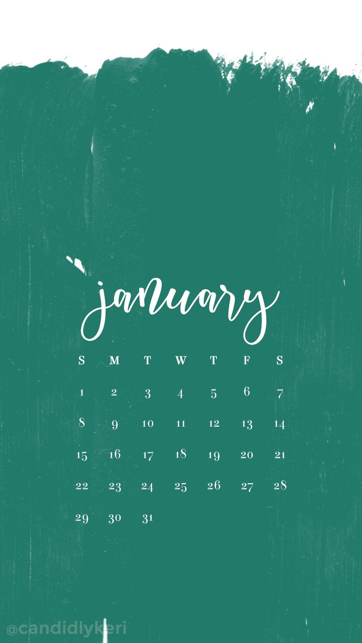 Teal turquoise paint strokes January calendar 2017 736x1308