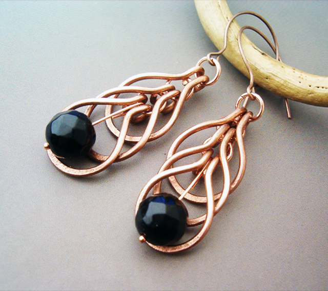 Wire Wrapped Earrings Hammered Copper and Agate by bleek70 on 640x568