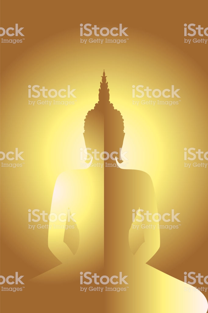Golden Siddhartha Gautama With Gold Glowing Background Stock 682x1024