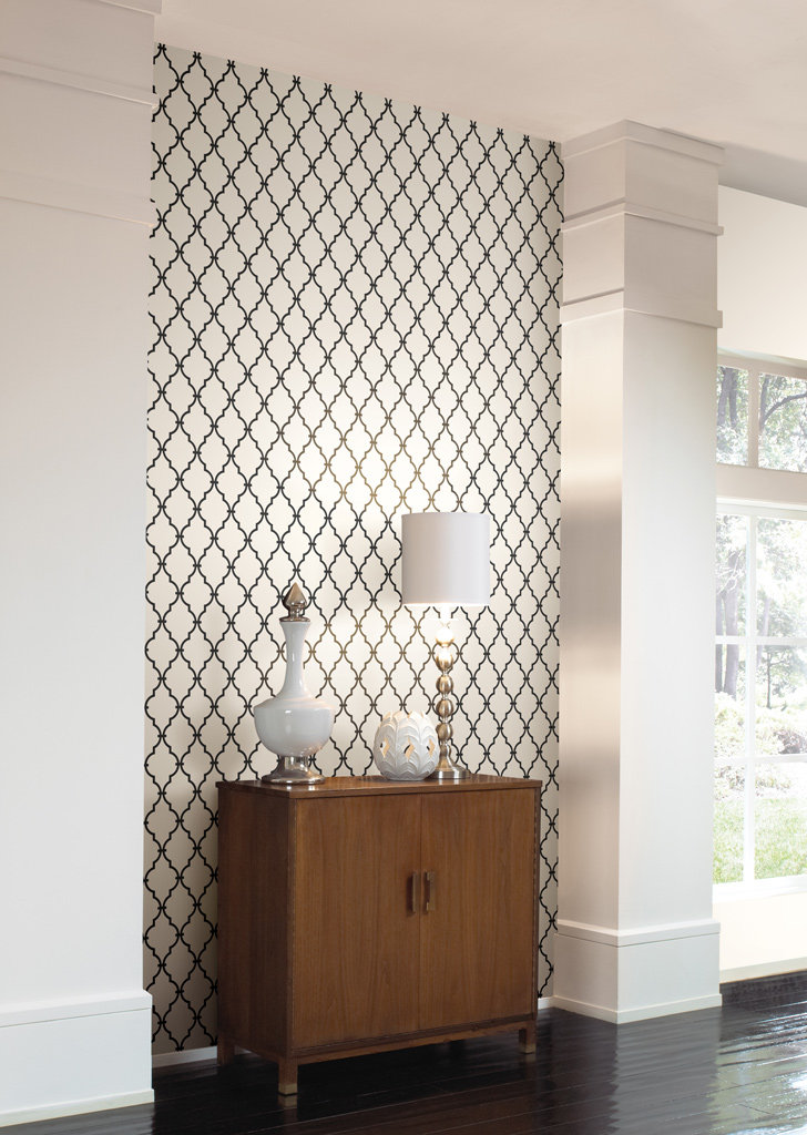 Yorks trellis Wall in a Box wallcovering kit features a sophisticated 728x1024