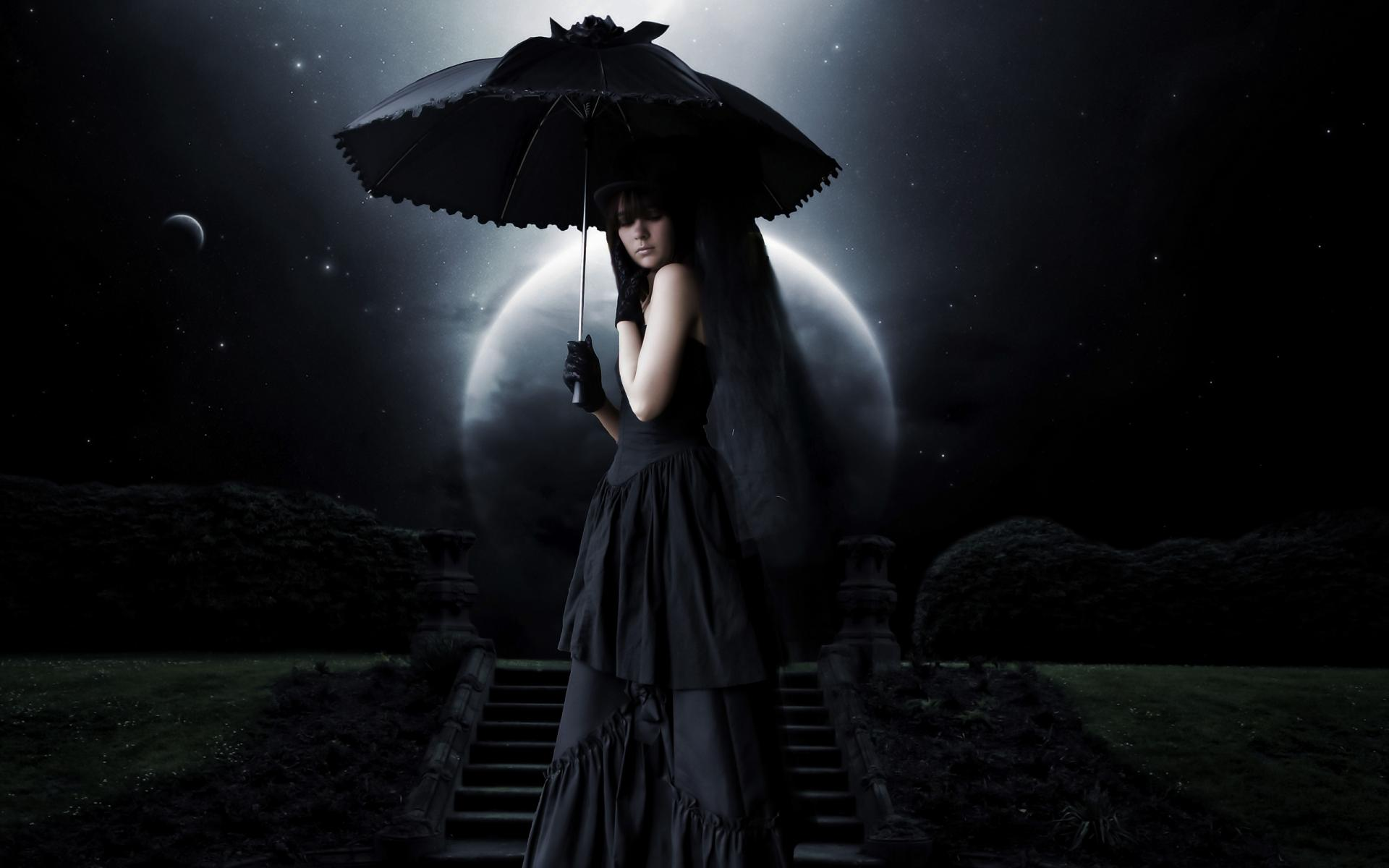 Dark   Gothic Woman Goth Dark Umbrella Wallpaper 1920x1200