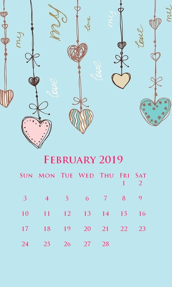 iPhone February 2019 Calendar Wallpapers Screensaver Background 564x942