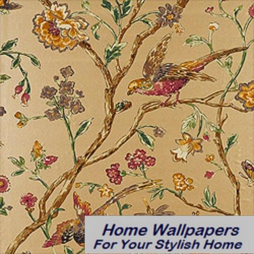 Thibaut Wallpaper Great Estates Aviary T5835 Metallic Gold 500x500