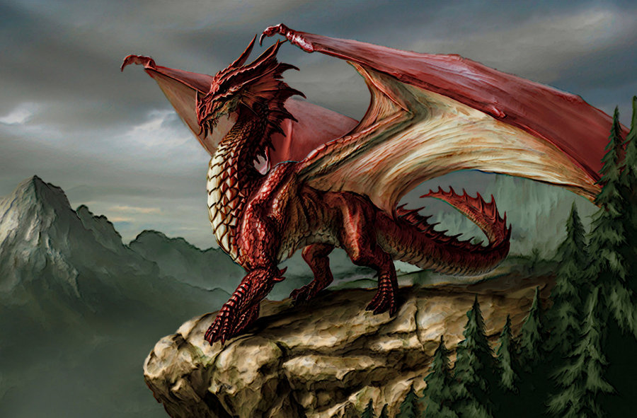Desktop Wallpaper Acrylic Red Dragon by LordHighWarlock 900x591