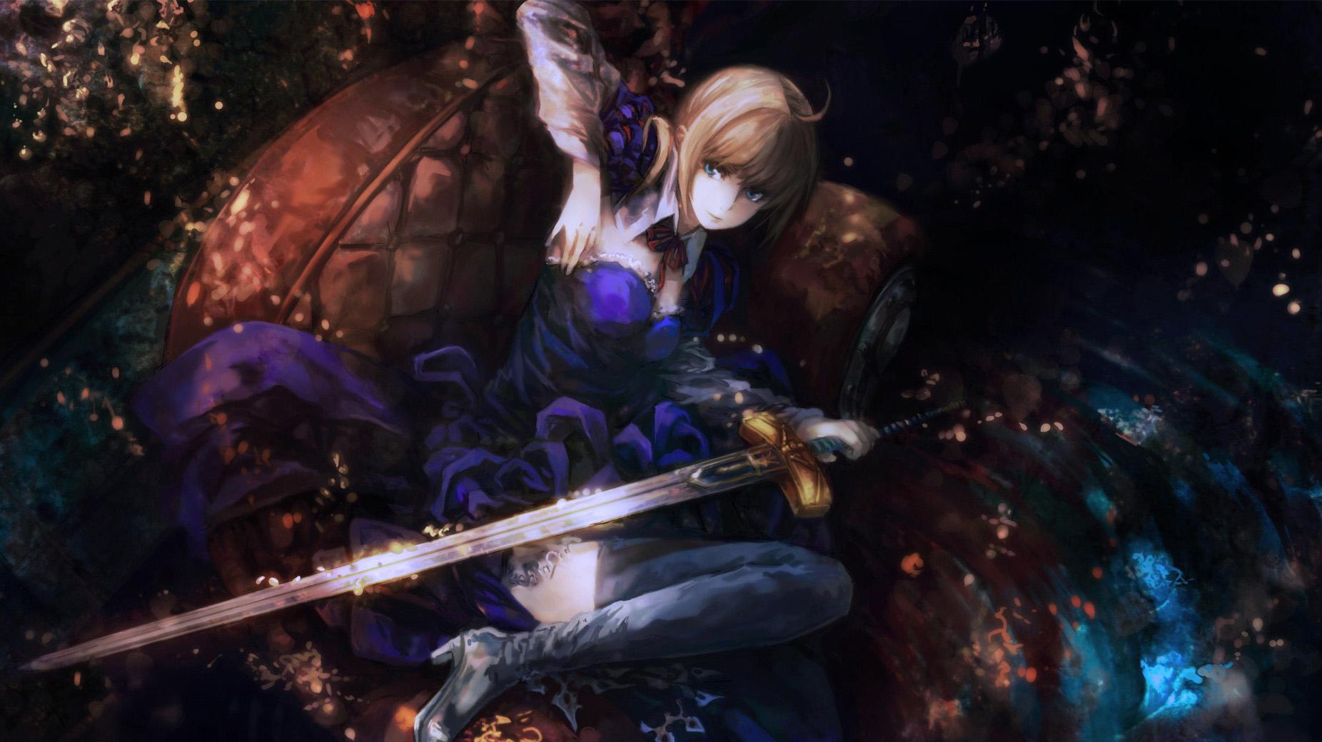 Cute Saber Fate Zero Wallpaper HD 1852x1040