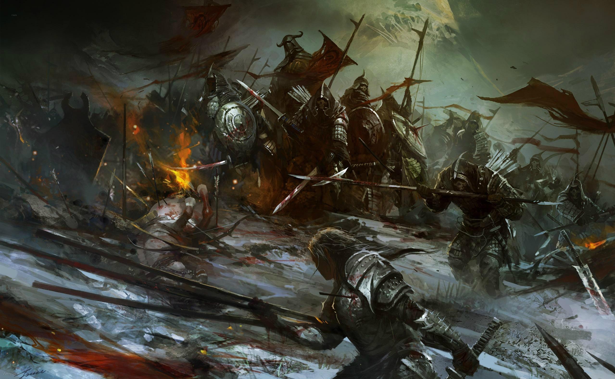 orc battle wallpaper background 2558x1575