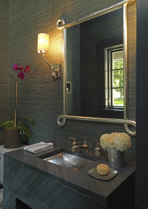 Zen gray bathroom design with gray grasscloth wallpaper modern gray 500x705