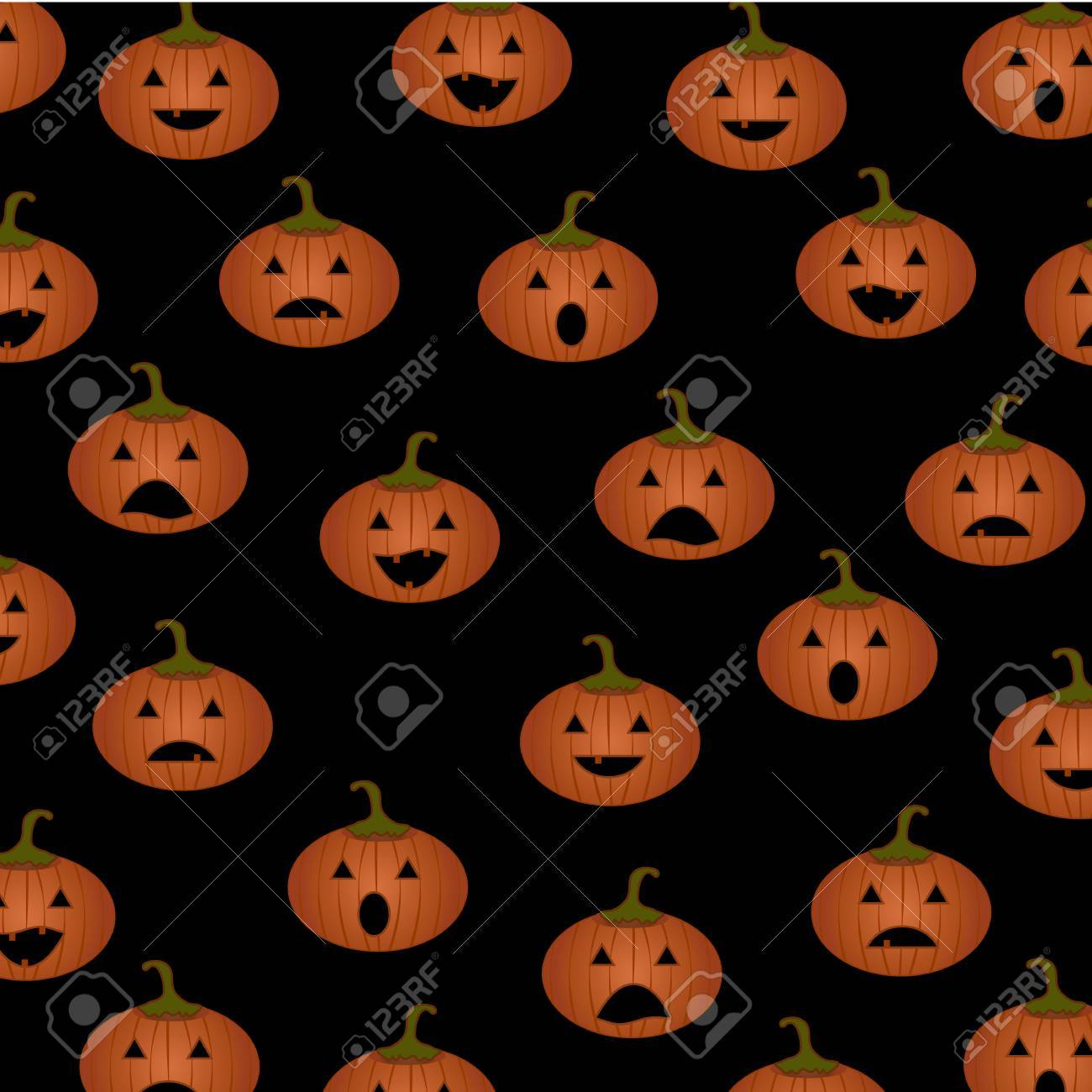 Halloween Pattern With PumpkinsCute Pumpkin EmojiFor Textile 1300x1300