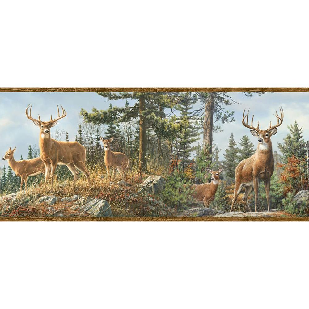 Chesapeake Ashmere Brown Whitetail Crest Wallpaper Border Sample 1000x1000